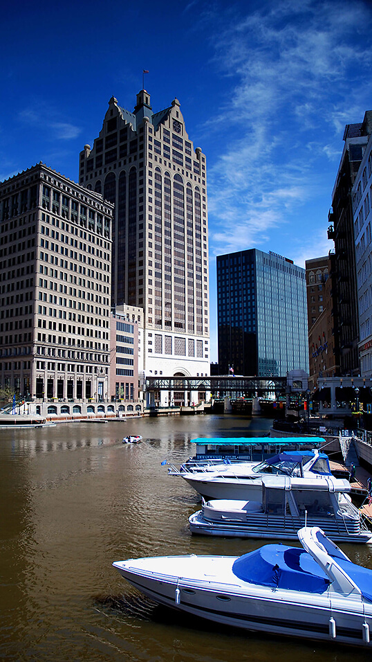 The Milwaukee River in downtown Milwaukee